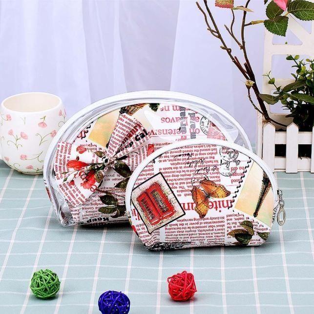 Neworldline 3pcs Cosmetic Toiletry Travel Wash Makeup Bag Holder Pouch Kits Set   -Pink
