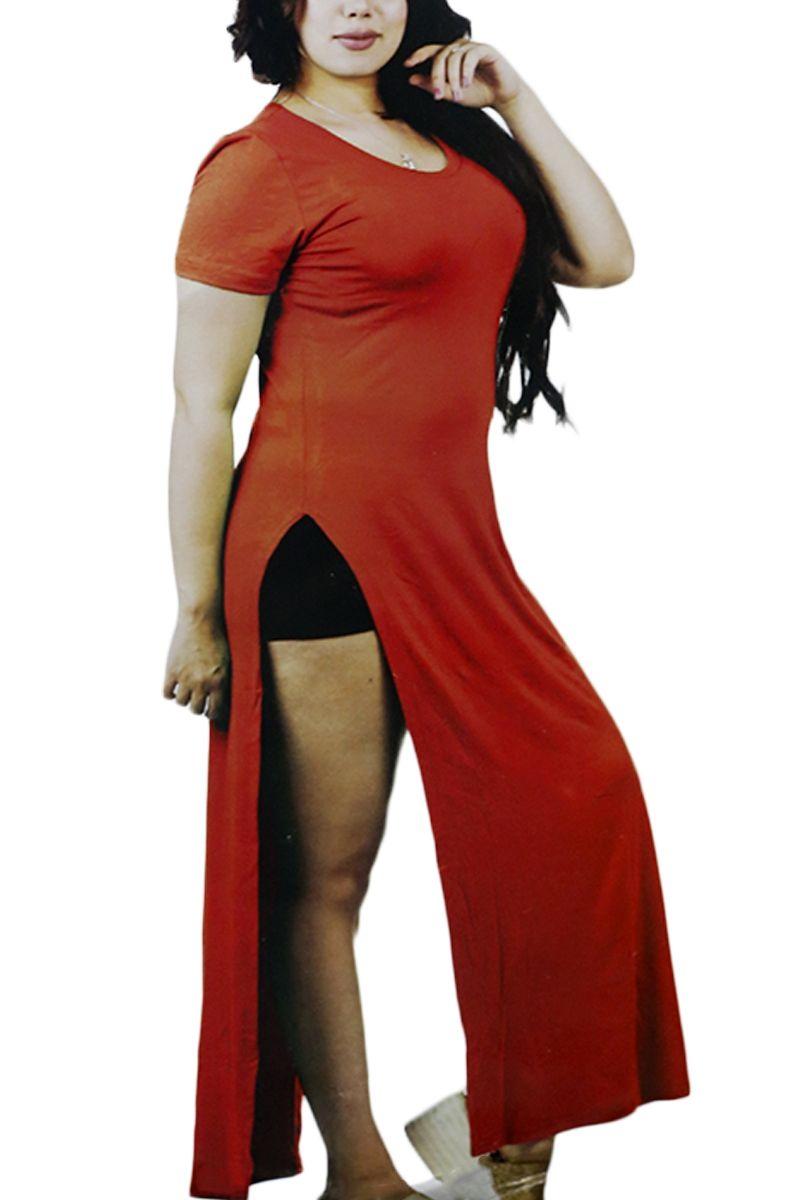 Mic Half Sleeves Nightshirt - Red