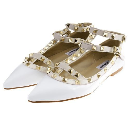 19d62af0b Generic Fashion Sexy Ladies Rivet Design Patent Leather Pointed Toe  Gladiator Flat Shoes-WHITE (UK Size)