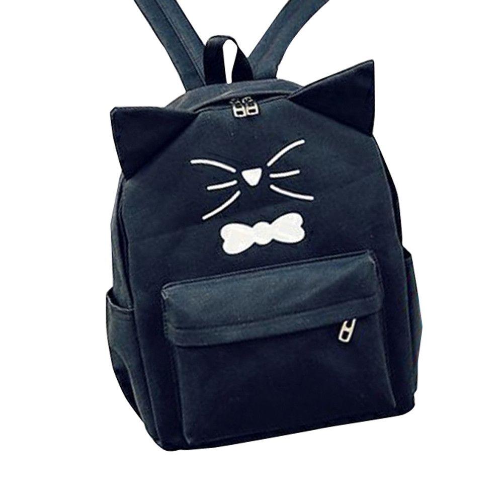 9068b611e57a Neworldline Women Girls Cute Cartoon Canvas Preppy Style School Bag Travel Backpack  Bag BK- Black