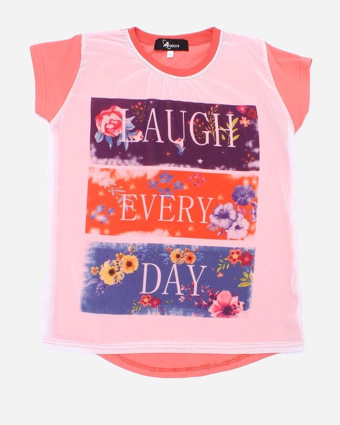 """Andora """"LAUGH EVERY DAY"""" Printed T-Shirt - Rose"""