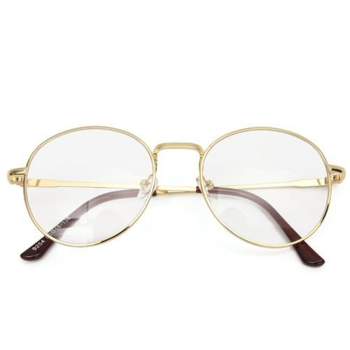 6beb280aac1a Fashion Women Men Retro Vintage Oval Eyeglasses Frame Clear Plain Glasses  Rx Spectacles Gold