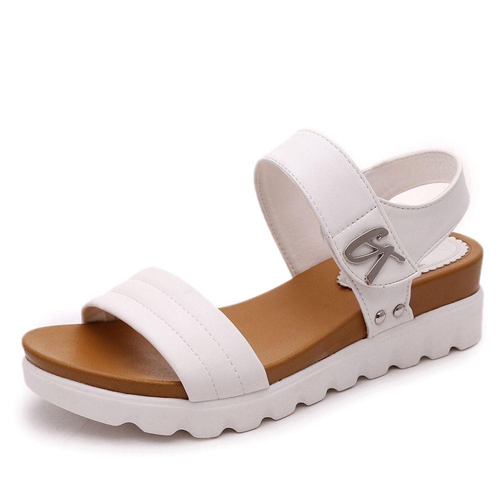 575ab1eef7fcd2 Neworldline Summer Sandals Women Aged Flat Fashion Sandals Comfortable Ladies  Shoes-White (EU Sizing)