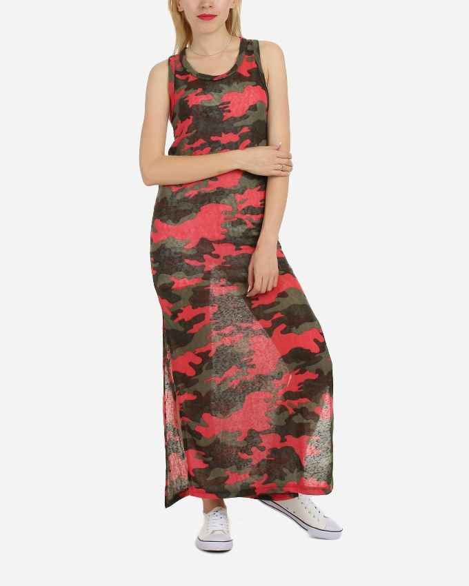 Be Positive Maxi Printed Dress With Bolero - Red & Olive