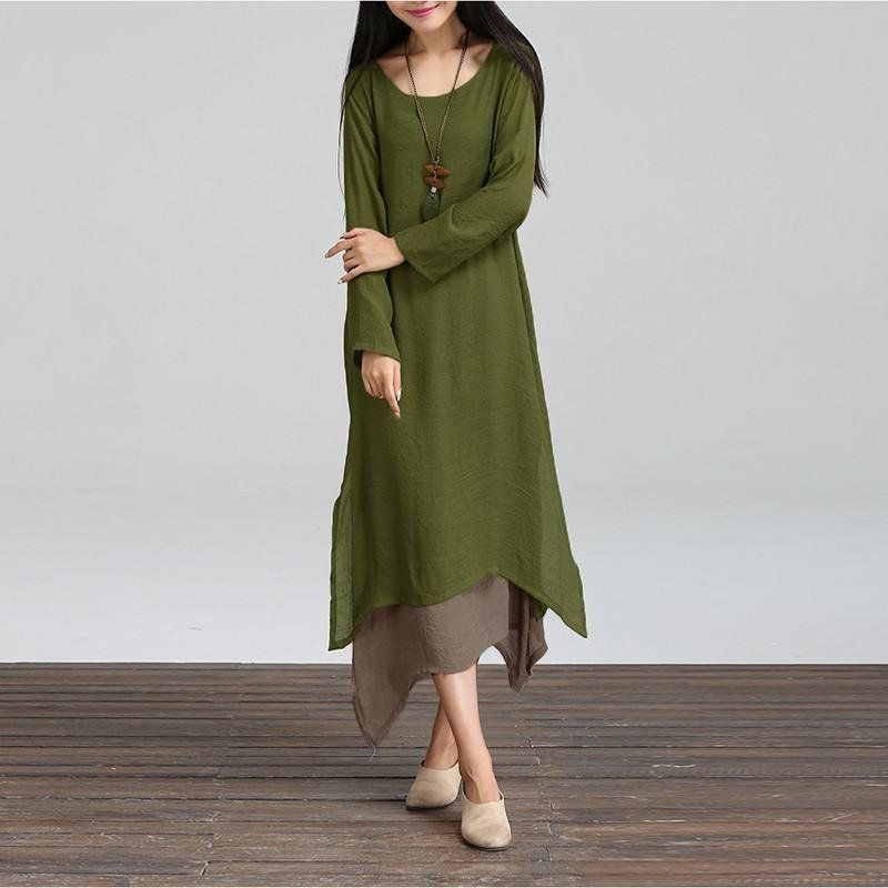 2bef129278d5d ZANZEA ZANZEA Women Casual Loose O Neck Boho Long Maxi Dresses Plus ...