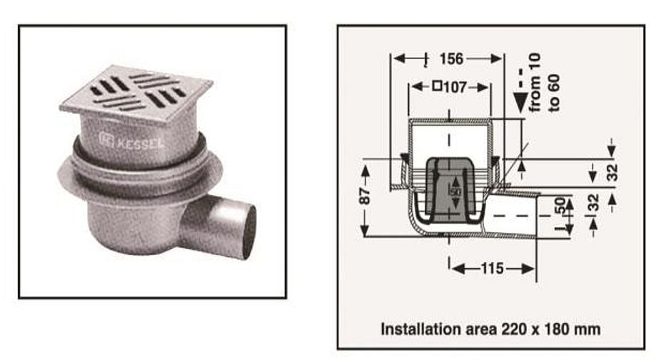 No Brand Shower Drain 843.05 Br Br Kessel Bathroom Pipes Fitting For ...