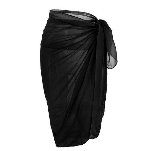 Gamiss Women Chiffon Swimsuit Wrap - Black