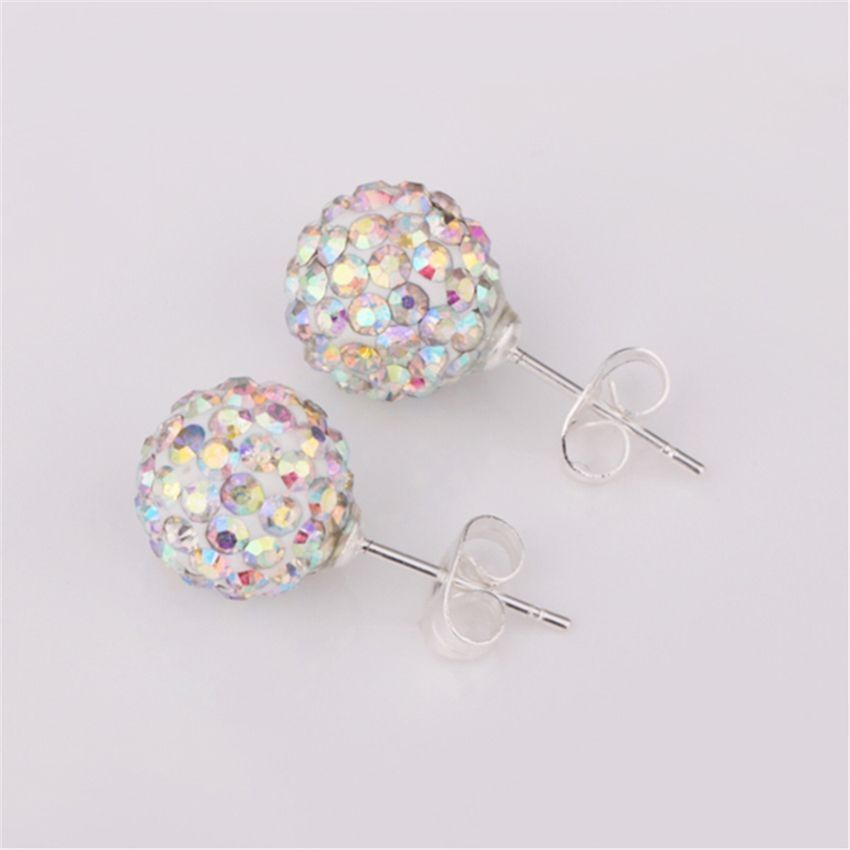 Neworldline Womens Sparkle Round Crystal Ball Stud Earrings For Wedding Party CO-Colour