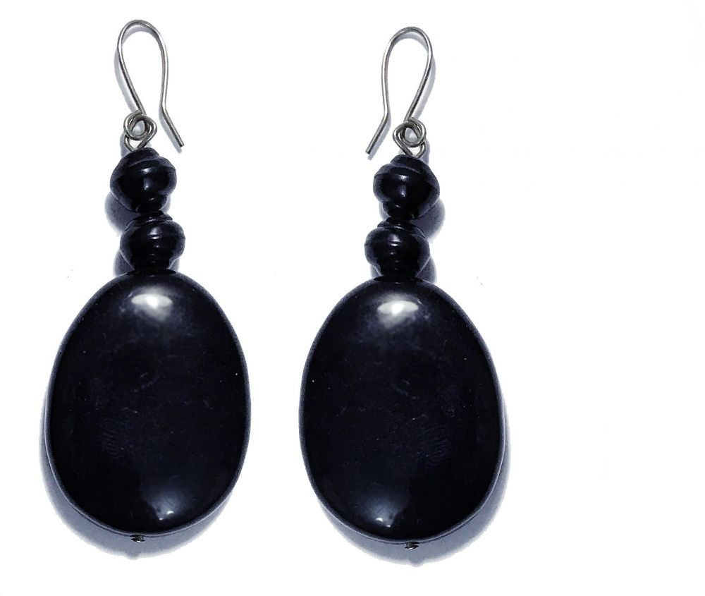 Generic Elegant Black Drop Dangle Earrings