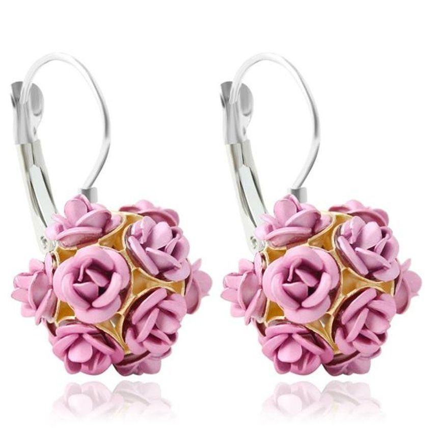 Neworldline New  Fashion Flower Rose Women Girls Crystal Stud Earrings Gift PK-Pink