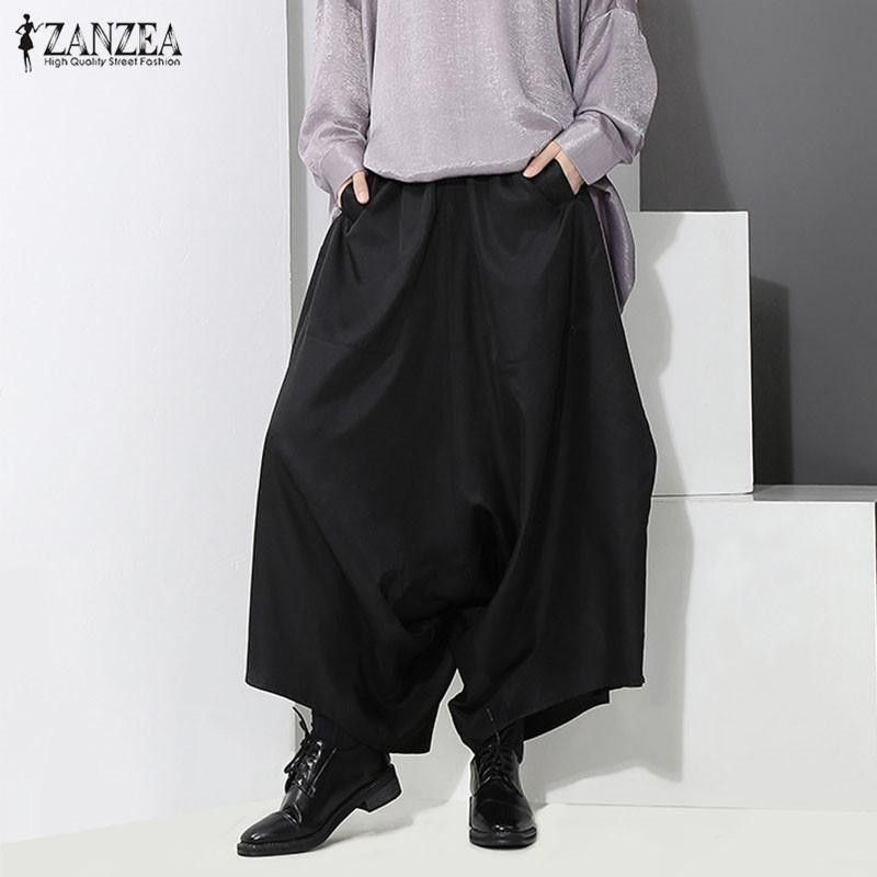 ZANZEA ZANZEA Women Wide Leg Irregular Baggy Loose Oversized Long Trousers Pants Black