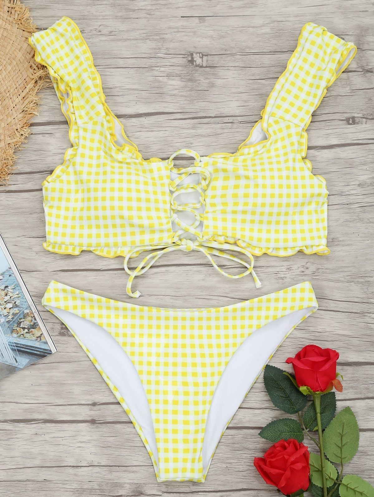 df5a1f47ed660 Zaful Frilled Gingham Lace Up Bralette Bikini Set - WHITE AND YELLOW ...