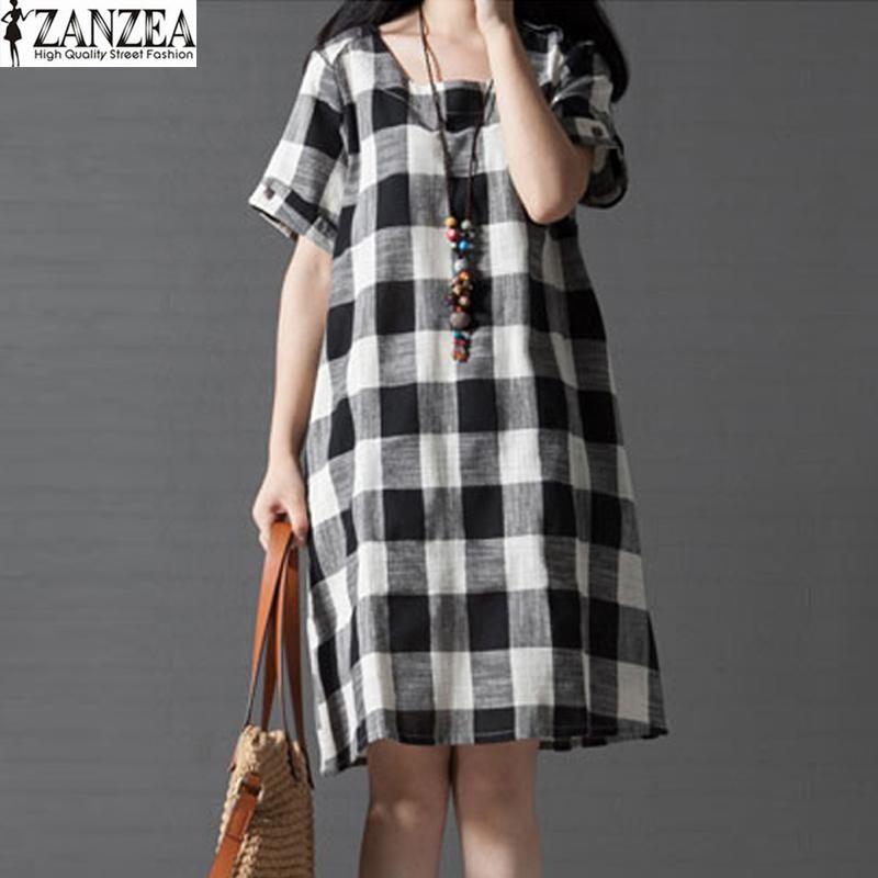 0a5ed27f322 ZANZEA ZANZEA Women Check Plaid O-Neck Casual Loose Shirt Dress Summer  Short Sleeve Long Vestido Kaftan Plus Size Black