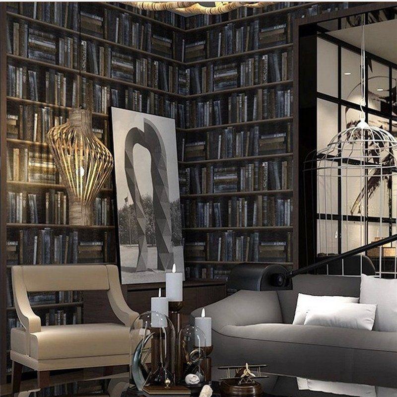 Universal 3D Library Pattern Wallpaper Bedroom Living R..