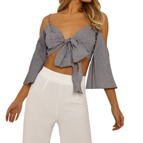 a76da0ff5d97 Buy Eissely Women s Ladies Plaid Back Sleeveless Crop Top Shirt Blouse  Tanks L-Black in