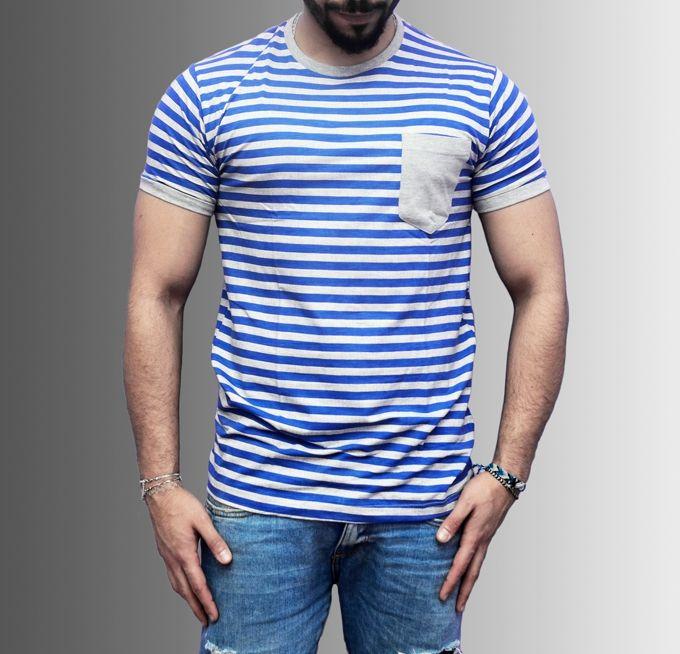 Marley Striped T-Shirt - Blue & Grey