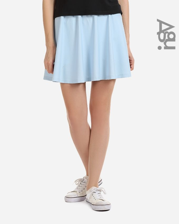 Agu Solid Mini Skirt - Baby Blue