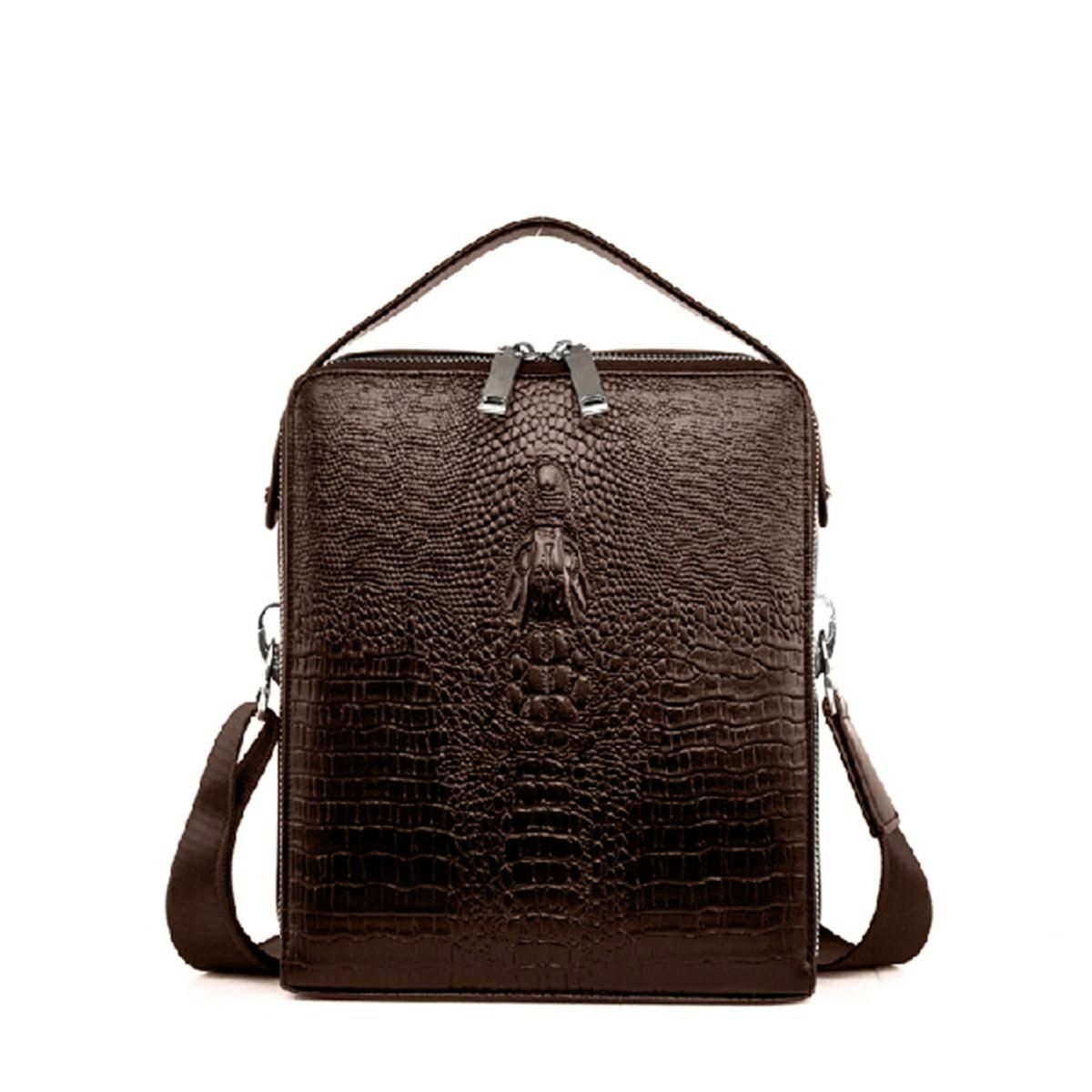 0d626524448a Generic Men Genuine Leather Multi-function Shoulder Bag Business Crocodile  Handbag Briefcase khaki. updating Prices