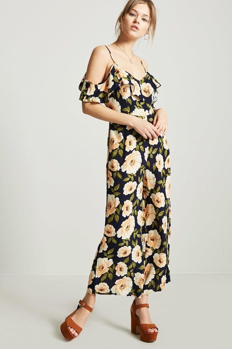 f146217150d Forever21 Floral Open-Shoulder Jumpsuit Price in Egypt