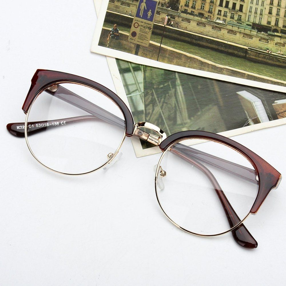 f6ae6643a98 Fashion Retro Style Women Men Nerd Glasses Clear Lens Eyewear Round ...