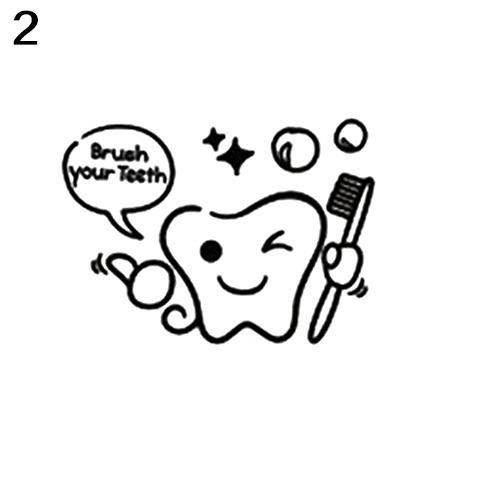 Bluelans Cartoon Tooth Brush Your Teeth Shower Room Vinyl Sticker