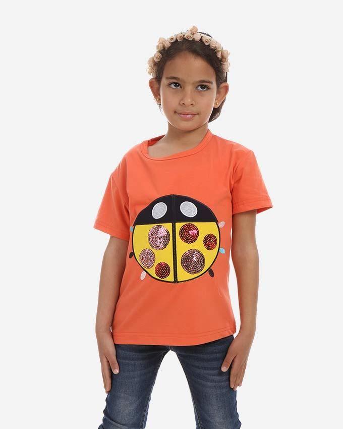 Andora Sequin Lady Bird T-Shirt - Orange