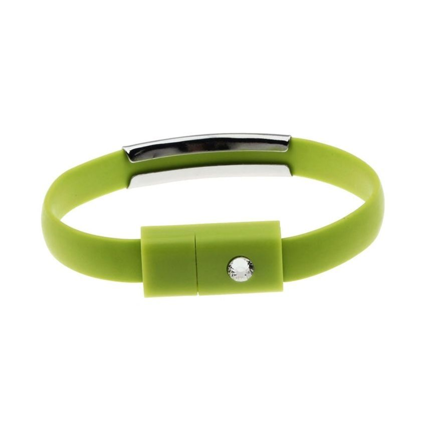 Neworldline USB Data Charging Cable Line Bracelet For Samsung Galaxy S4 S5 For HTC G-Green
