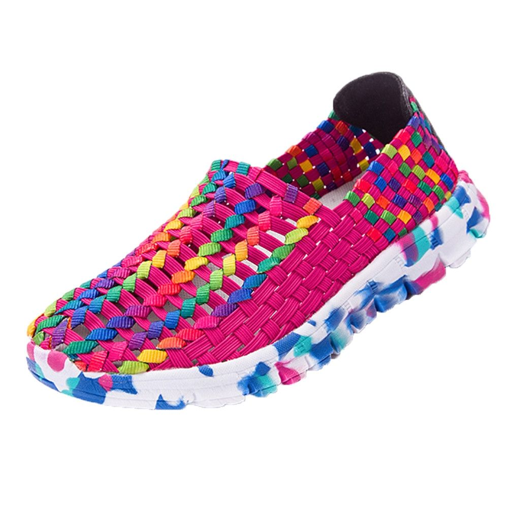 fdc3b9e9254ebe Fashion Blicool Shoes Women Woven Flats Breathable Shallow Mouth Lazy Slip  Resistant Comfort Shoes Hot Pink