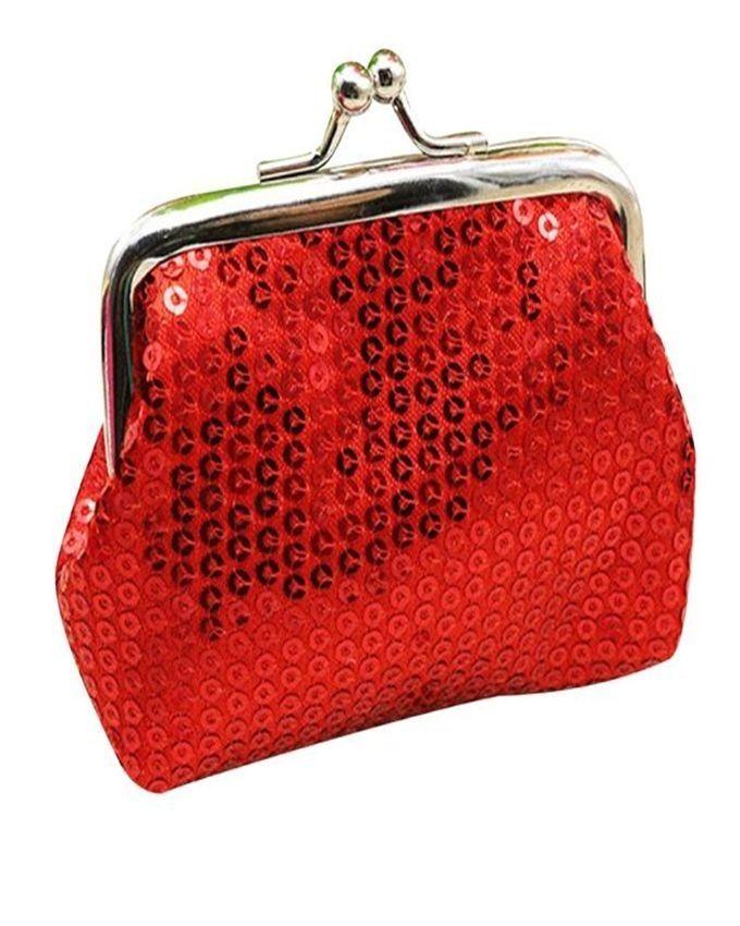 Neworldline Womens Small Sequin Wallet Card Holder Coin Purse Clutch Handbag Bag-Red