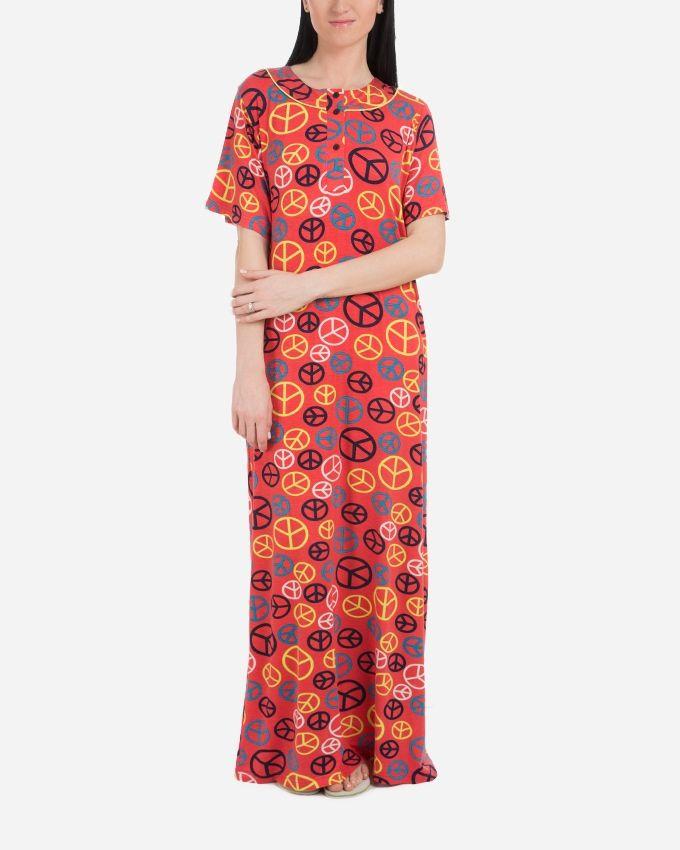 Andora Long Printed Nightgown - Melon