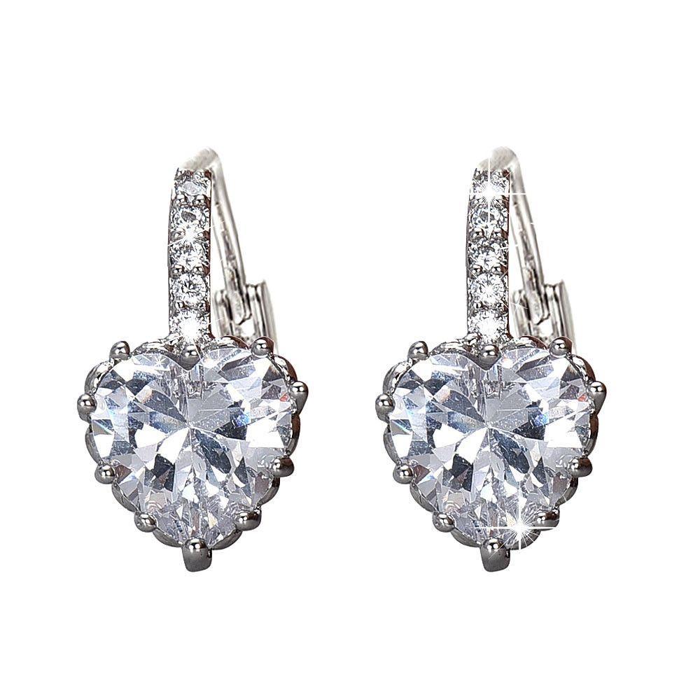 Neworldline Silver Crystal Heart Shape With Zircon Earrings White-White