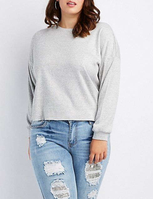 85abd06b744432 Charlotte Russe Plus Size French Terry Cropped Sweatshirt | Jackets ...