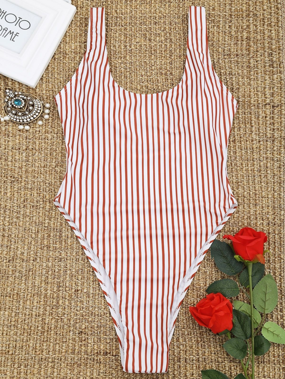 0df21bcfe6d Zaful High Cut Low Back Striped Swimwear - RED WITH WHITE. updating Prices