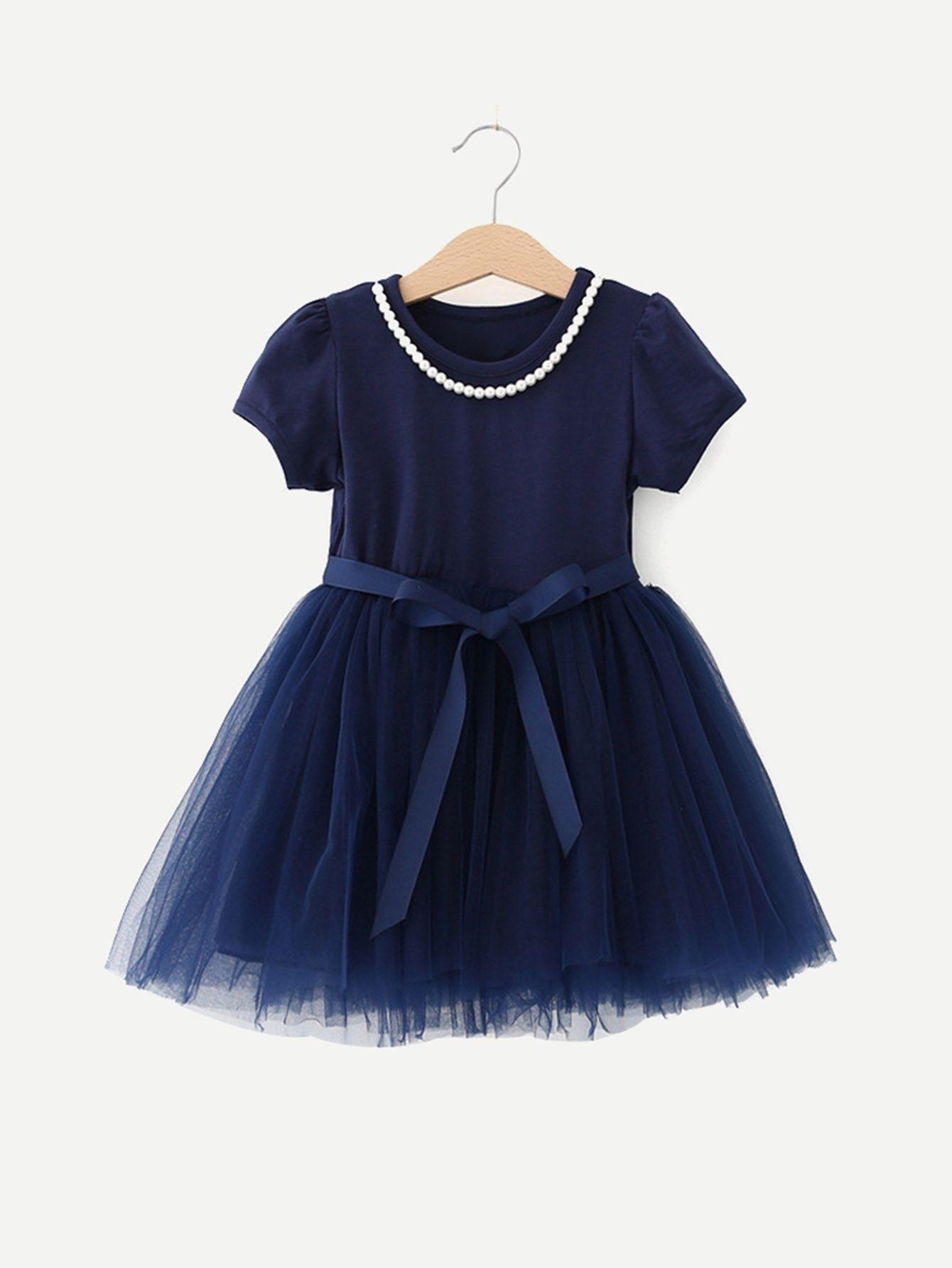 afb0bf5ebc861 SHEIN Girls Contrast Mesh Tie Detail Pearls Decoration Dress