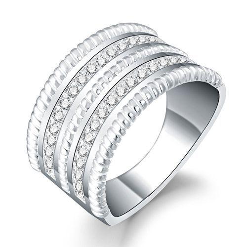 Neworldline Fashion Women Crystal Round Zirconia Band Silver Ring Jewelry Size 8-Silver