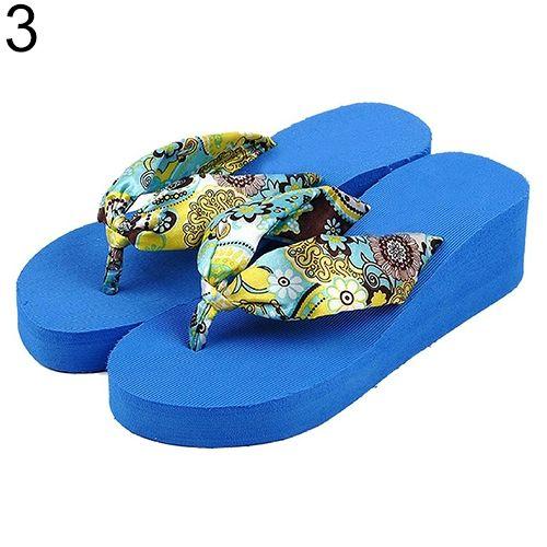bc50726f0d0c1 Sanwood Women Summer Beach Bohemia Floral Slippers Platform Wedges Thong Flip  Flops-Blue