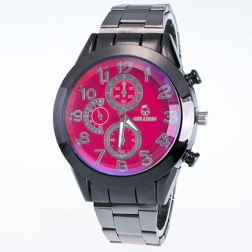 5e2ee6b12 Universal Casual LU Fashion Men Motion Form Stainless Steel Sport Quartz  Hour Wrist Analog Watch Red