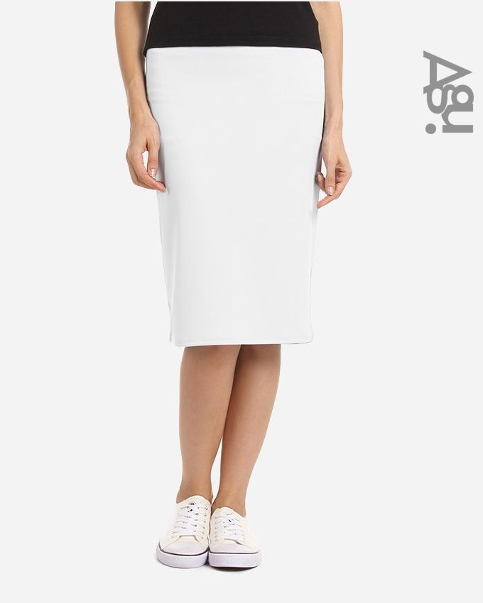 Agu Solid Pencil Mini Skirt - Off White