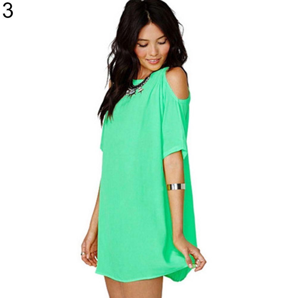 025f34dfa5d76 Sanwood Women s Fashion Summer Sexy Off Shoulder Chiffon Short Sleeve  T-Shirt Tops Mini Dress-Green