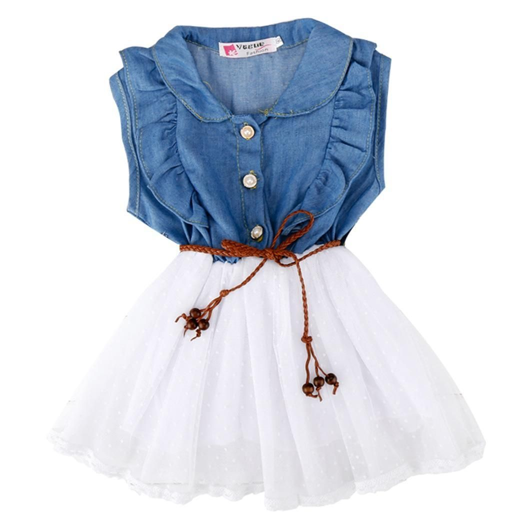 8d5c28a0dab6 Sunweb Baby Kids Children Girl s Sleeveless Fancy Party Dress Denim ...