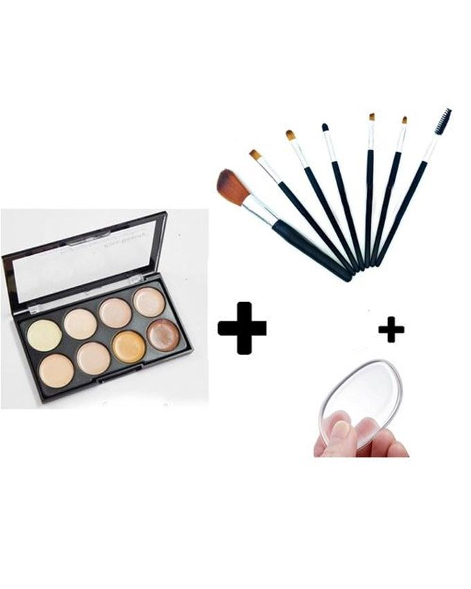 Kiss Beauty Contour Concealer Palette - 8 Shades + 7 Brushes + Silicone Puff