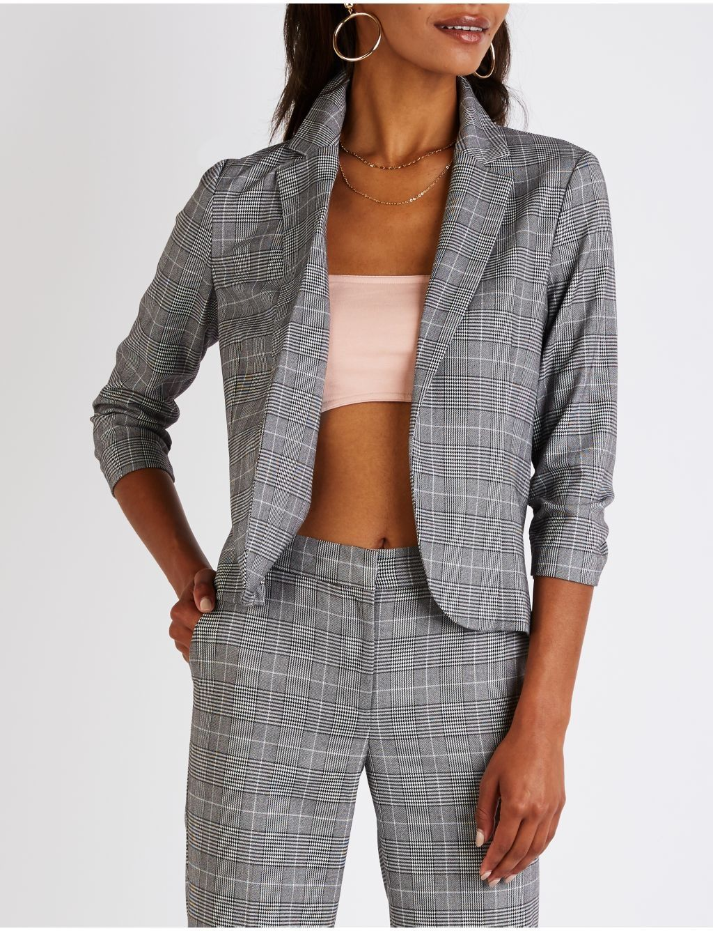 2810b948280 Buy Charlotte Russe Plaid Ruched Sleeve Blazer in Egypt