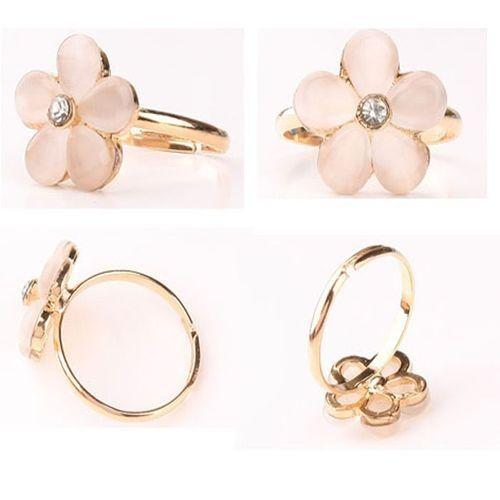Neworldline 1PC Fashion Sweet Five Flower Shaped Ring Cat Eye Ring Couples Rings-Pink