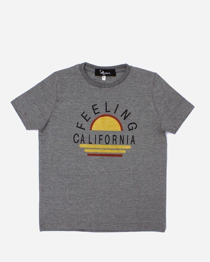 """Andora """"FEELING'' Printed T-Shirt - Grey"""