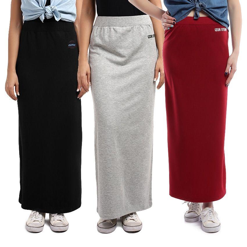 dbc08eec7b76d IZOR By Maxs Bundle Of 3 Elastic Waist Slip On Plain Maxi Skirt ...
