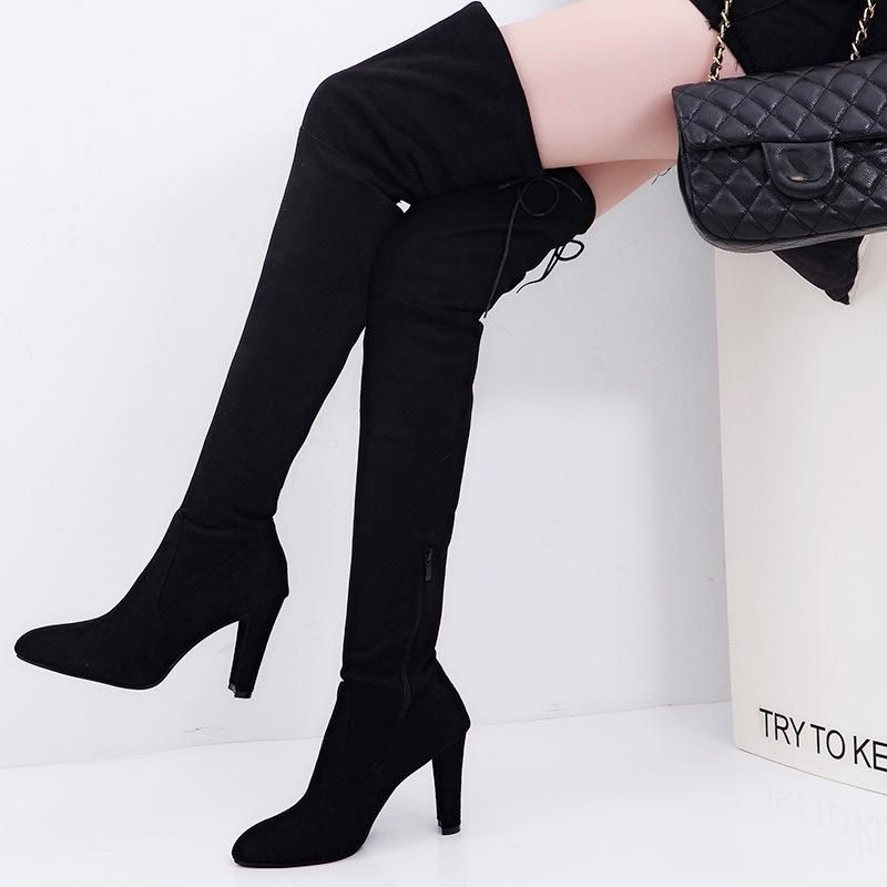 f601ff935596 Fashion Women Long Stretch Over The Knee Boots Thigh High Heeled Boots  Zipper Lace Shoes