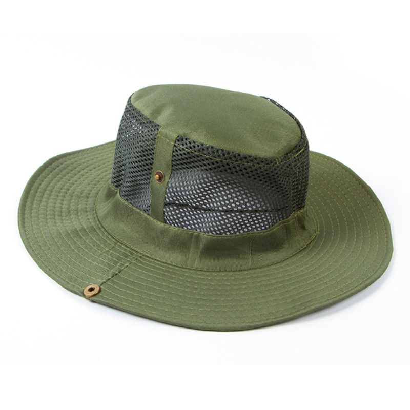 11862030bed Eissely Men Outdoor Camping Fishing Cap Sun Protection Boonie Hat Wide Brim  GN