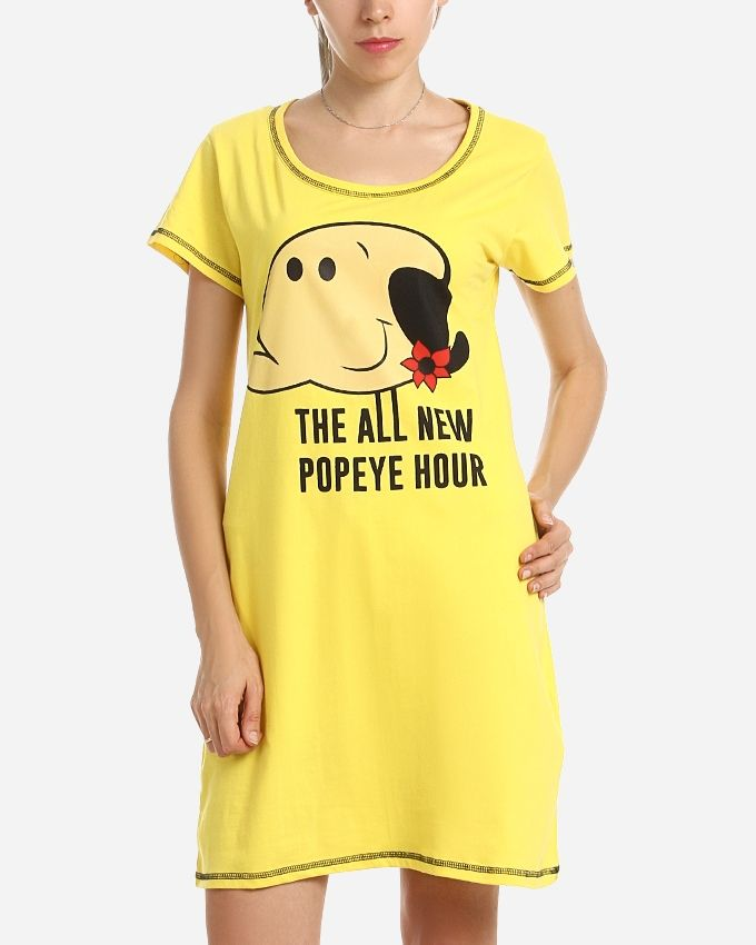 """Andora """"THE ALL NEW POPEYE HOUR"""" Printed Night Gown - Yellow"""