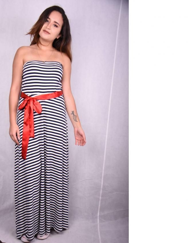 Coctail Striped Maxi Dress - White & Navy Blue