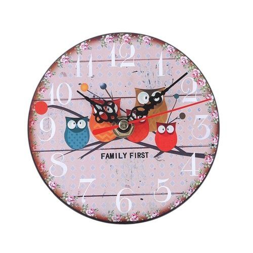 Vakind Diameter 12cm Vintage Colorful Style Round Wood Wall Clock(Pink)
